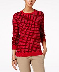 Charter Club Petite Windowpane-Print Sweater, Created for Macy's