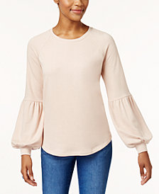 Style & Co Bishop-Sleeve Sweatshirt, Created for Macy's