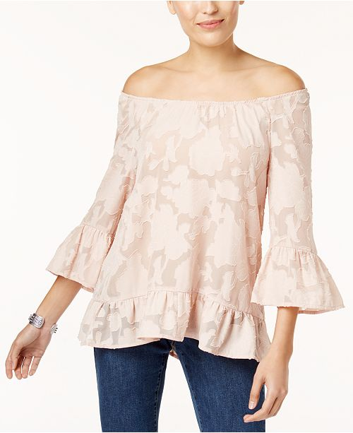 Style & Co Petite Burnout Off-The-Shoulder Top, Created for Macy's