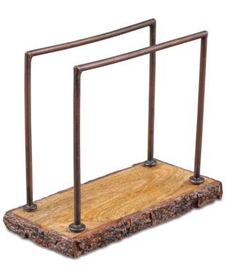 Bark-Edged Wood & Iron Napkin Holder