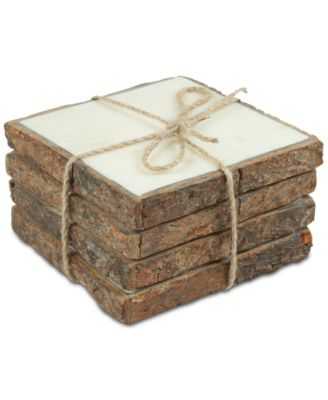 Bark-Edged Marble Coasters, Set of 4