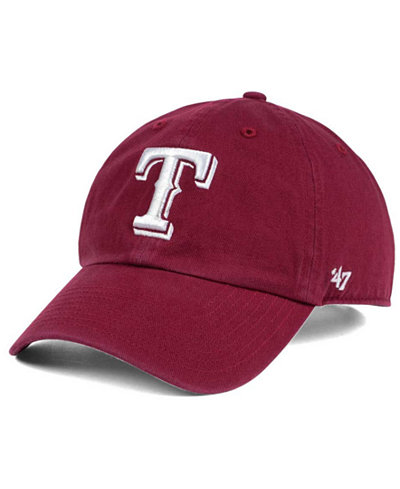 '47 Brand Texas Rangers Cardinal and White CLEAN UP Cap