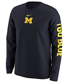 Nike Men's Michigan Wolverines Fresh Trainer Hook Long Sleeve T-Shirt