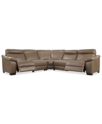Gennaro 5-pc Leather Sectional Sofa with 2 Power Recliners with Power Headrests, Created for Macy's