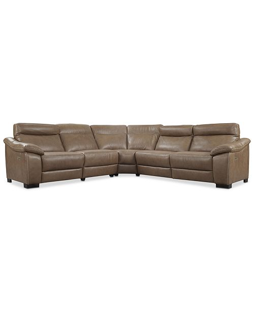 Furniture Gennaro 5 Pc Leather Sectional Sofa With 3 Power
