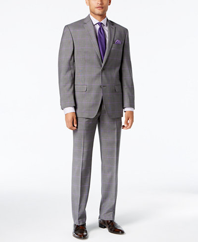 Sean John Men's Classic-Fit Stretch Grey/Purple Windowpane Plaid Suit Separates