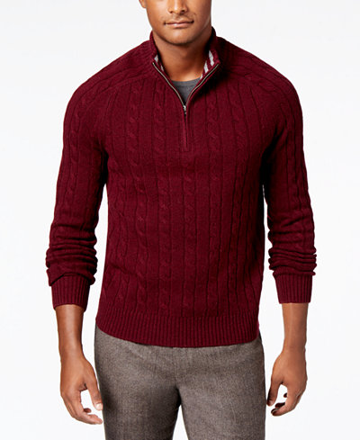 Brooks Brothers Red Fleece Men's Quarter-Zip Cable Knit Sweater ...