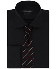 Sean John Solid French Cuff Dress Shirt & Window Pane Tie