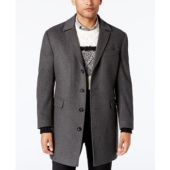 Calvin Klein Mens Minneapolis Wool-Blend Slim-Fit Overcoat