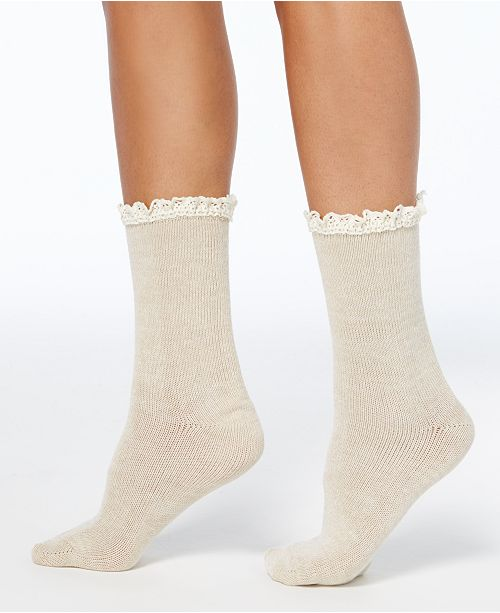 Hue Women's Lace-Trim Space-Dyed Boot Socks