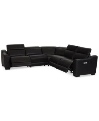 CLOSEOUT! Anniston 5-Pc. Leather Sectional with 3 Power Recliners and USB Power Outlet, Created For Macy's
