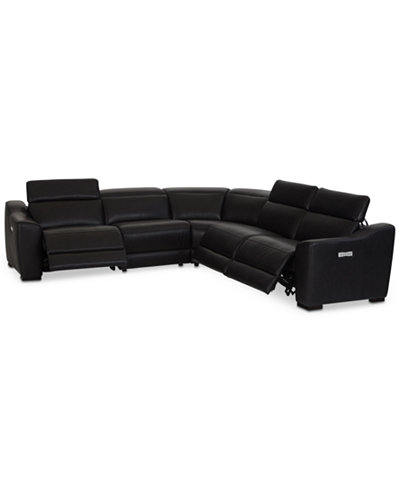 Anniston 5-Pc. Leather Sectional with 3 Power Recliners and USB Power Outlet, Created For Macy's