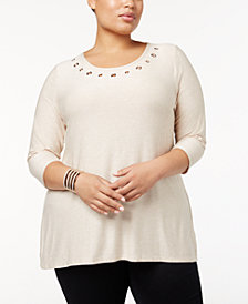 Belldini Plus Size Cutout-Back Top