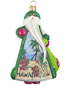 Joy to the World Glitterazzi Aloha Hawaiian Santa Ornament