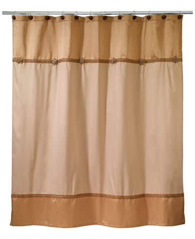 Avanti Braided Medallion Colorblocked Shower Curtain