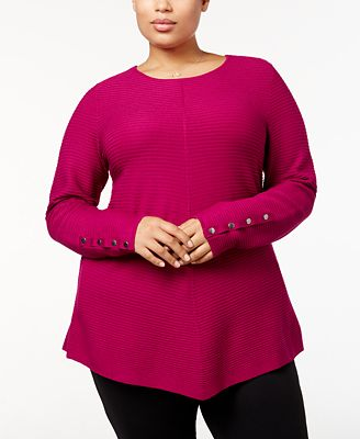 Alfani Plus Size Ribbed-Knit Tunic Sweater, Created for Macy's