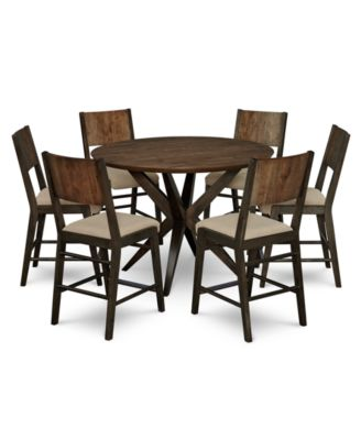 Ashton Round Pedestal Pub Dining Furniture, 7-Pc. Set (Round Pedestal Pub Table & 6 Pub Chairs)