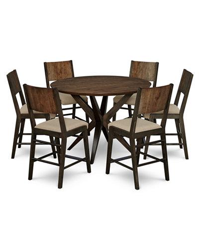 Ashton Round Pedestal Pub Dining Furniture, 7-Pc. Set (Round Pedestal Pub Table & 6 Pub Chairs)
