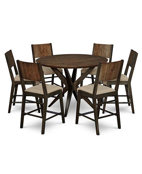 Furniture Ashton Round Pedestal Pub Dining Furniture, 7-Pc. Set (Round Pedestal Pub Table & 6 Pub Chairs)