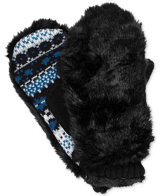 Isotoner Signature Women's Faux-Fur & Fair Isle Mittens - Handbags ...