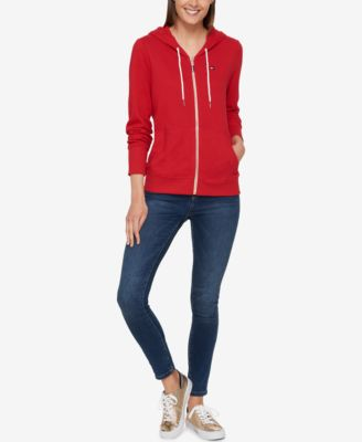 Tommy Hilfiger Womens French Terry Zip Hoodie-Solid