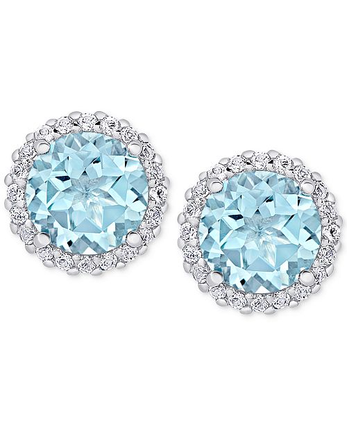 Macy's Blue Topaz (4-3/4 ct. t.w.) & White Topaz (1-3/4 ct. t.w.) Stud Earrings in Sterling Silver