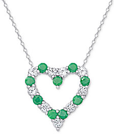 Emerald (1 ct. t.w.) & White Topaz (1 ct. t.w.) Heart Pendant Necklace in Sterling Silver (also in Ruby and Sapphire)