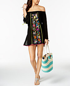 Nanette by Nanette Lepore Isla Marietas Cotton Embroidered Off-The-Shoulder Tunic Cover-Up