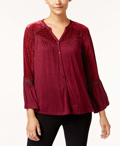 Style & Co Petite Velvet-Trim Blouse, Created for Macy's