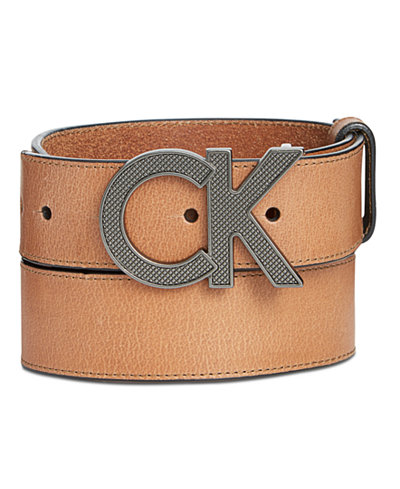 Calvin Klein Men's Matte Leather Casual Logo Belt