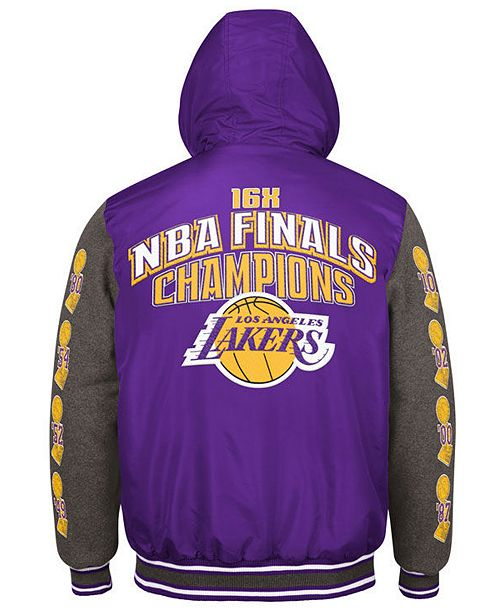 f5ef137279a9e ... G-III Sports Men's Los Angeles Lakers Top Brass Hooded Varsity Jacket  ...