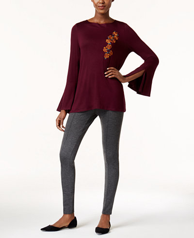 Cable & Gauge Embroidered Knit Top & Olivia & Grace Leggings