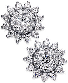 Diamond Sunflower Stud Earrings (1 ct. t.w.) in 14k White Gold
