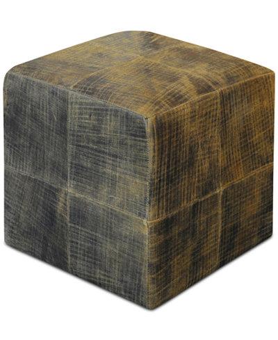 Chivaso Leather Cube Ottoman, Quick Ship