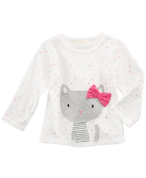 First Impressions KittyPrint LongSleeve Cotton TShirt Baby Girls (024 months) Created for Macys