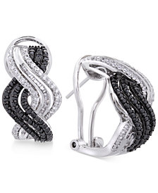 Wrapped in Love™ Diamond Wavy Drop Earrings (1 ct. t.w.) in Sterling Silver, Created for Macy's