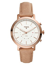 Fossil Women's Tech Neely Nude Leather Strap Hybrid Smart Watch 36mm