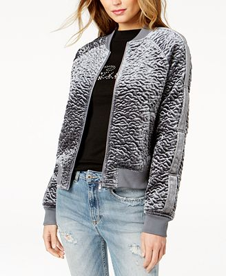 GUESS Charlee Textured Bomber Jacket - Juniors Jackets & Vests ...