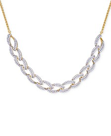 Diamond Link Statement Necklace (1 ct. t.w.) in Sterling Silver & 14k Gold-Plate, Created for Macy's