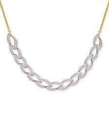 Wrapped in Love™ Diamond Link Statement Necklace (1 ct. t.w.) in Sterling Silver & 14k Gold-Plate, Created for Macy's
