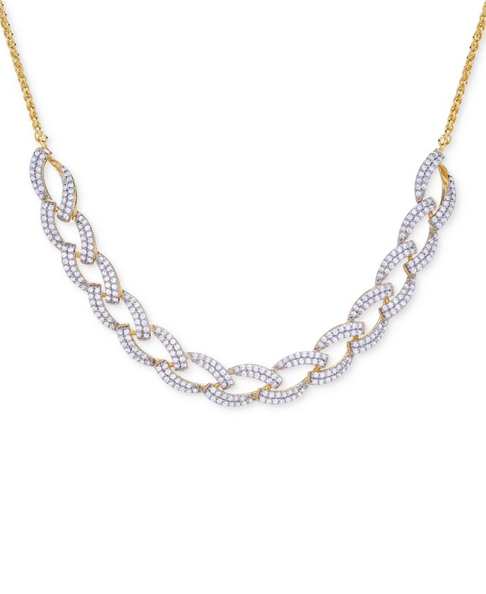 Wrapped in Love - Diamond Link Statement Necklace (1 ct. t.w.) in Sterling Silver & 14k Gold-Plate