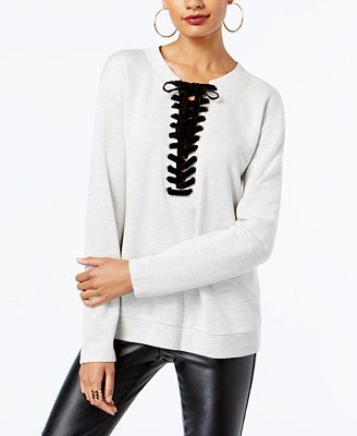 INC International Concepts Lace-Up Sweatshirt, Created for Macy's