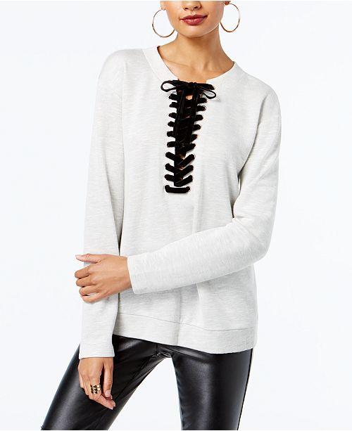 dcf7506a8c ... INC International Concepts I.N.C. Lace-Up Sweatshirt