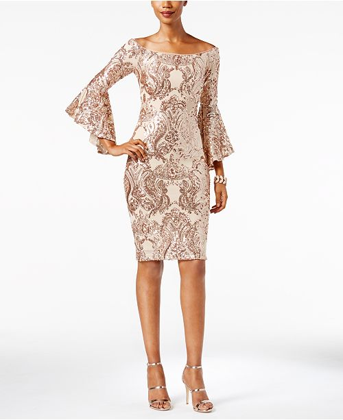 Champagne Off Adam Shoulder Betsy The Sequined amp; Dress q0Zg1fp