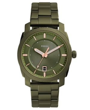 Fossil  MEN'S MACHINE OLIVE GREEN STAINLESS STEEL BRACELET WATCH 42MM