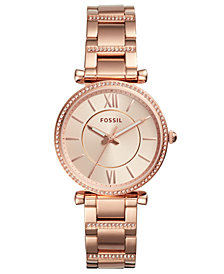 Fossil Women's Carlie Rose Gold-Tone Stainless Steel Bracelet Watch 35mm