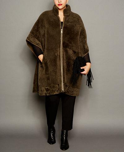 The Fur Vault Plus Size Shearling Lamb Coat