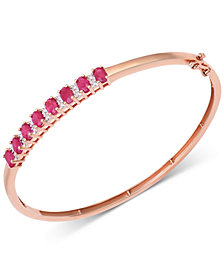Sapphire (3-1/8 ct. t.w.) & Diamond (1/8 ct. t.w.) Bangle Bracelet in Sterling Silver (Also Available in Ruby/14K Rose Gold over Sterling Silver)