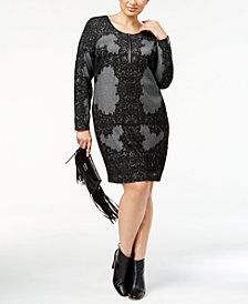 I.N.C. Plus Size Lace-Print Jacquard Sheath Dress, Created for Macy's