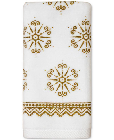 CLOSEOUT! Dena Majestic Winter Cotton 2-Pc. Snowflake-Print Fingertip Towel Gift Set